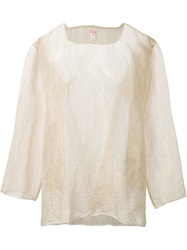 Dosa Sheer Metallic Blouse Nude And Neutrals