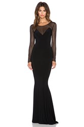 Norma Kamali Norma Kulture Long Sleeve Fishtail Gown Black