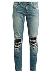 Saint Laurent Distressed Leather Insert Skinny Jeans Denim