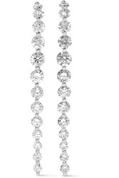 Anita Ko Long Cascade 18 Karat White Gold Diamond Earrings