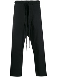 Thom Krom Cropped Relaxed Fit Trousers Black