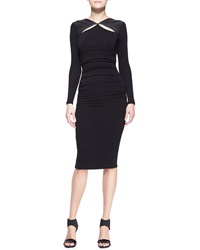 Donna Karan Long Sleeve Leather Trim Cool Jersey Slash Dress