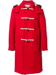 Thom Browne Hooded Duffle Coat Red