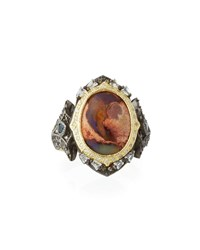 Armenta Old World Mexican Fire Opal And Mixed Stone Ring Yellow Black