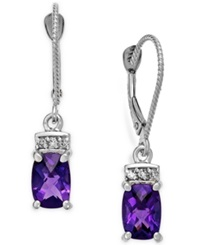 Macy's Amethyst 1 3 4 Ct. T.W. And Diamond Accent Earrings In 14K White Gold