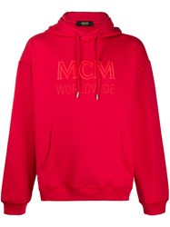 Mcm Embroidered Logo Hoodie