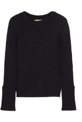Michael Kors Collection Ribbed Cashmere Blend Sweater Midnight Blue