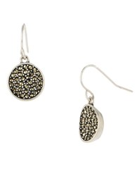 Kenneth Cole Pave Circle Drop Earrings Silver
