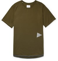 And Wander Logo Print Jersey T Shirt Army Green