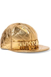 Moschino Embellished Metallic Quilted Leather Cap Gold