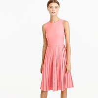 J.Crew Petite Pleated A Line Dress In Super 120S Wool