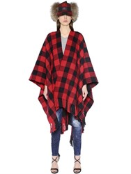 Dsquared2 Fringed Checked Wrap Poncho