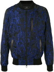 Unconditional Floral Jacquard Bomber Jacket Men Silk Cotton Linen Flax Polyester L Blue