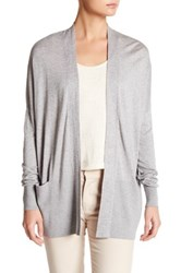Vince Light Weight Open Front Silk Blend Cardigan Gray