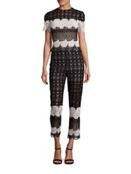 Yigal Azrouel Two Tone Lace Jumpsuit Jet Multi