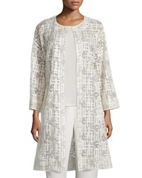 Neiman Marcus Embroidered Mesh And Crepe Topper Coat Cream Gold