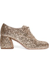 Miu Miu Glittered Leather Brogues Gold