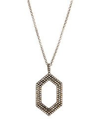 Bavna Long Pave Diamond Geometric Pendant Necklace