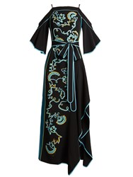 Peter Pilotto Cut Out Shoulder Embroidered Cady Gown Black Multi