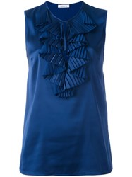 P.A.R.O.S.H. Pleated Detail Sleeveless Blouse Blue