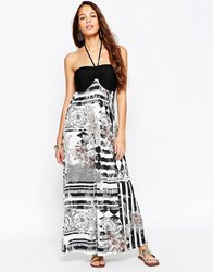 Pussycat London Maxi Dress In Mono Print Black