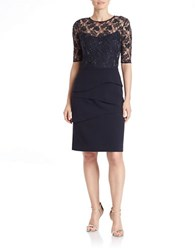 Teri Jon Beaded Lace Cocktail Dress Navy