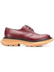 Alexander Mcqueen Tread Derby Lace Up Shoes Red