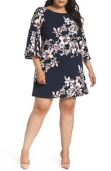 Eliza J Plus Size Bell Sleeve Shift Dress Navy