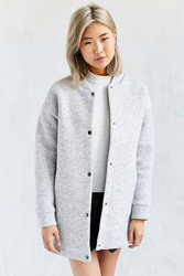Lucca Couture Long Knit Bomber Jacket Light Grey
