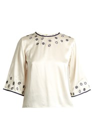 Jupe By Jackie Jurowkski Embroidered Satin Blouse Ivory Multi