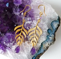 Branch On The Park Kiki Gold Plated Leaf With Gemstone Drop Earrings
