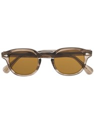 Moscot Round Frame Abstract Print Sunglasses Brown