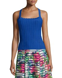 Nanette Lepore Sleeveless Ribbed Top With Scalloped Straps Blue