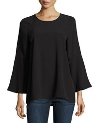Kensie Long Bell Sleeve Stretch Crepe Blouse Black