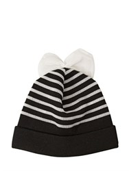 Federica Moretti Striped Wool Beanie Hat With Bow