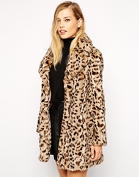 Whistles Kumiko Faux Fur Coat In Leopard Print Multi