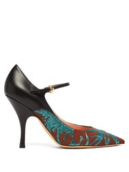Rochas Brocade Leather And Canvas Mary Jane Pumps Green Multi