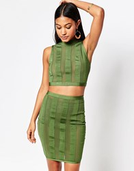 Wow Couture Stripe Crop And Skirt Set Dark Olive Green