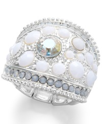 Style And Co. Silver Tone White Stone Dome Ring
