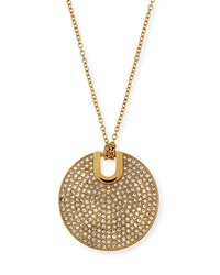 Pave City Disc Pendant Necklace Michael Kors