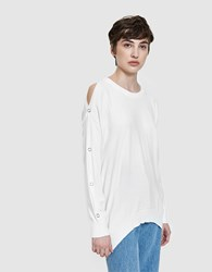 Which We Want Snap Sleeve Pullover White