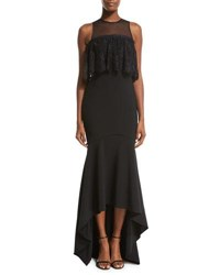 Theia Sleeveless Stretch High Low Gown Black