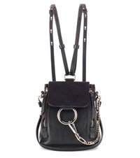 Chloe Faye Mini Leather And Suede Backpack Black
