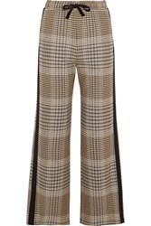 Maje Crepe Trimmed Checked Tweed Wide Leg Pants Beige