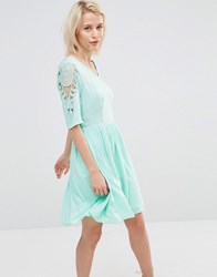 Lavand Lace Sleeve Insert Dress Green Blue