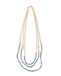 Stephanie Kantis Free Form Beaded Necklace Gold