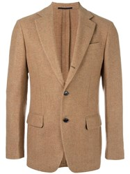 Massimo Piombo Mp Two Button Blazer Brown