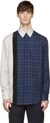 3.1 Phillip Lim Navy And White Framed Seams Shirt