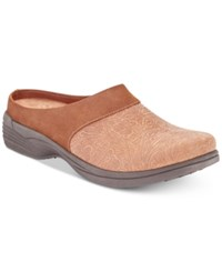 Easy Street Shoes Cozy Mules Tan Floral Tool