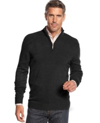 Geoffrey Beene Big And Tall Solid Ribbed Quarter Zip Sweater Black